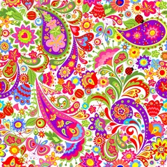Colorful decorative floral seamless background with ethnic pattern for fabric, textile, wrapping paper, card, invitation, wallpaper, web design