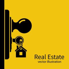 Key in keyhole on door silhouette. Real Estate pictogram concept, template for sales, rental, advertising. Sign on the home key. Vector illustration flat design.