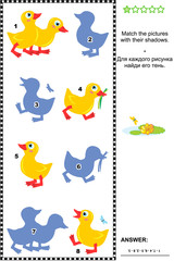 Visual puzzle or picture riddle for kids: Match the pictures of cute ducklings to their shadows. Answer included.
