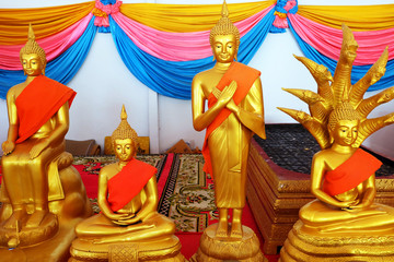 Golden Buddha Statue of Buddhism Temple in Thailand Background Great For Any Use.