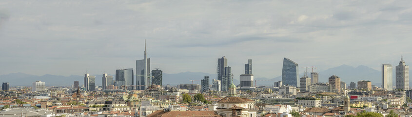 business hub skyline from Cathedral roof, Milan, Italy
