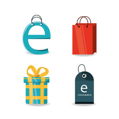 set shopping online to ecommerce marketing strategy vector illustration