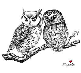 Wall Murals Owls cartoon Image of two owls on a branch. Vector illustration.