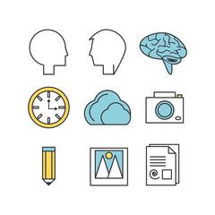 set creative process with innovation ideas vector illustration