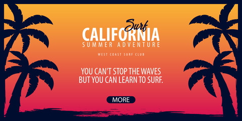 California Surfing graphic with palms. Surf club Vector banner.