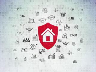 Business concept: Shield on Digital Data Paper background