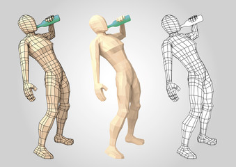 Wireframe human figure drinking from a bottle side view