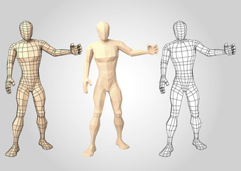 Wireframe human figure featuring something or somebody front view