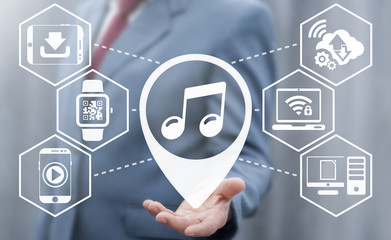 Online Music Cloud Service concept. Live Stream Social Media Web Network Melody Download Technology. Man offers location melody icon on virtual interface.