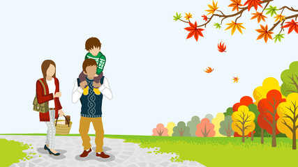 Family Walking in the Autumn nature -Piggyback