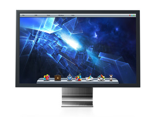 Computer monitor with blue desktop wallpaper. 3D illustration