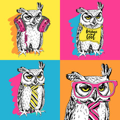 Bright Poster in the style of pop art. Owl in a headphones, t-shirt, tie, glasses. Vector illustration.