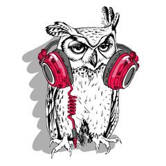 Owl in a red headphones. Vector illustration.