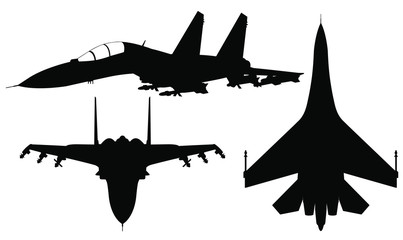 Vector set of silhouette of the fighter jet Su-27