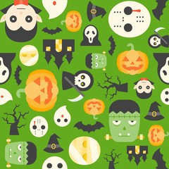 halloween cute cartoon character with green background