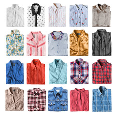 Folded shirts isolated
