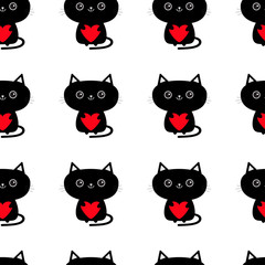 Pattern Seamless. Cute black cat holding red heart. Funny cartoon animal character. Kitty kitten. Baby pet collection. Wrapping paper, textile template. White background. Isolated. Flat design.