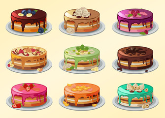 Big set of cakes in cartoon style.