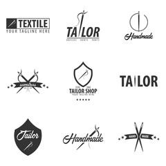 Set of Tailor, sewing, handmade logos or emblems. Vector illustration.