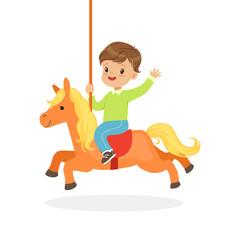 Cute little boy riding on the carousel horse, kid have a fun in amusement park cartoon vector Illustration