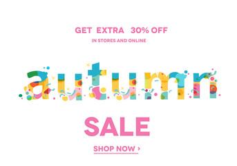 Autumn Sale Banner, Sale Poster, Sale Flyer, Sale Vector. 30% Off, Vector illustration.