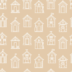 Beach hut pattern, flat line style, beige and white. Variety of designs with different decoration, bunting, surf board, fish, flower pots, life buoy, paddles, flags. Seamless background simple.