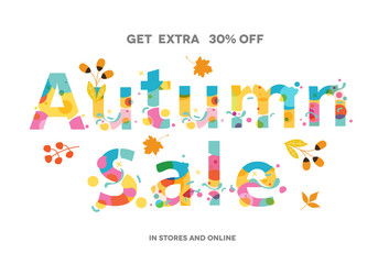Autumn Sale Banner, Sale Poster, Sale Flyer, Sale Vector. 30% Off, Vector illustration.