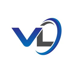 vector initial logo letters vl with circle swoosh blue gray