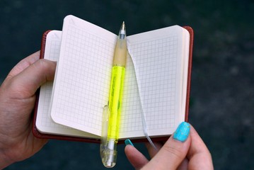 зелёная ручка лежит на открытом блокноте в руках