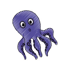 Cute octopus cartoon icon vector illustration graphic design