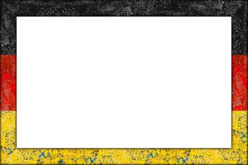 empty picture or blackboard wooden frame in german flag design isolated on white background / Bilderrahmen Rahmen deutschland flagge holz