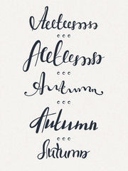 Set of five words Autumn. Lettering. Calligraphy. Handwritten text. Fall. Vector illustration, eps 10