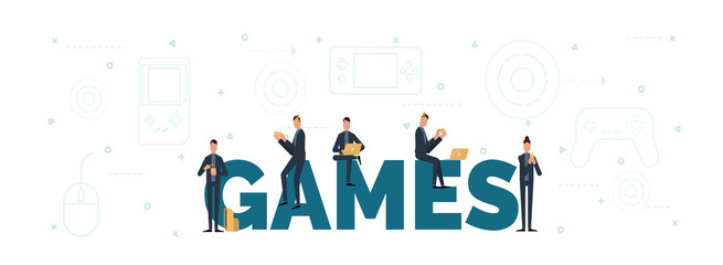 lettering of games concept with people are using laptop and smartphones for playing games.