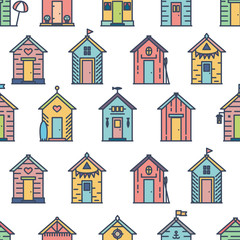 Beach hut pattern, flat line style, colored on white. Variety of designs with different decoration, bunting, surf board, fish, flower pot, life buoy, paddles, flags. Vector seamless background simple.