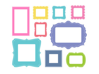 Set of cartoon picture frames organized as gallery wall. Blank colored frames isolated on white vector illustration. Balanced composition. Ready collage for photos or pictures