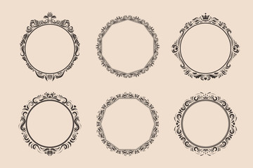 Decorative round vintage frames and borders set. Victorian and baroque style design. Elegant royal-style frame shapes with swirls for labels,tags and invitations. Vector illustration. Fotomurales