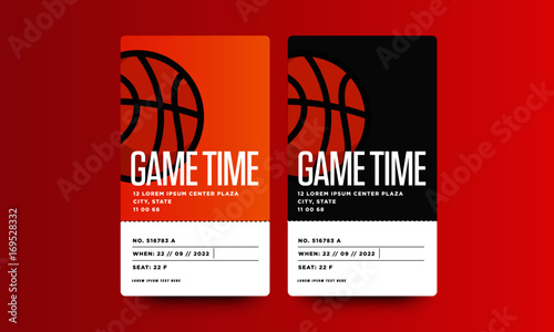 game time basketball event ticket card design with seat and venue