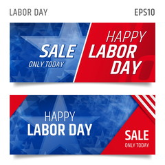 American labor day background. Labor day horizontal banners. Labor day sale promotion advertising banner template. Labor day wallpaper. Voucher discount. Vector illustration. Tamplate card abstract.