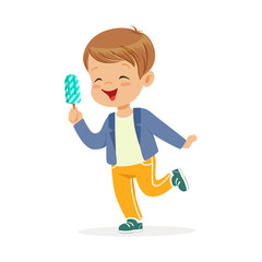 Cute little boy character feeling happy with his ice cream cartoon vector Illustration