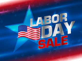 American labor day background. Labor day sale promotion advertising banner template decor with American flag. Labor day sale. American labor day card abstract background. Vector illustration.