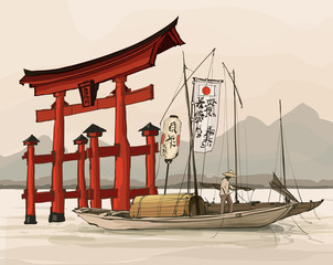 Printed kitchen splashbacks Art Studio Floating gate of Itsukushima Shrine