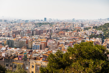 Panorama of Barcelona, Catalonia. View from the Parc Guell