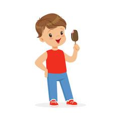 Cute little boy character feeling happy with his ice cream cartoon vector Illustration