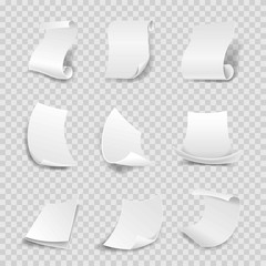 Blank white paper sheets 3D rolls or curved corners vector isolated icons