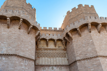 Torres de Serrans (Serrano Towers), one of the twelve gates that were found along the old medieval city wall in Valencia, Spain.