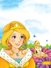 Cartoon fairy tale scene with a young lady princess standing in the meadow looking at little fairy sitting on some flower - illustration for children
