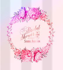 Blosoom flower wreath with calligraphic text for bridal shower invitation card. Vector illustration.