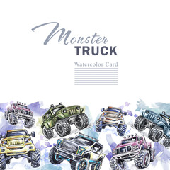 Watercolor cars horizontal border. Cartoon Monster Trucks frame. Colorful Extreme Sports background. 4x4. Off Road. Man's hobby. Adventures card. Transport template design.