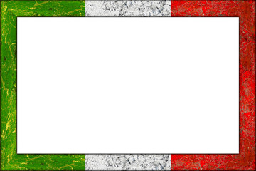 empty picture or blackboard wooden frame in italian italy flag design isolated on white background / Bilderrahmen Rahmen Italien flagge holz