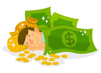 man sleeping with dollar bills, money bags and coins